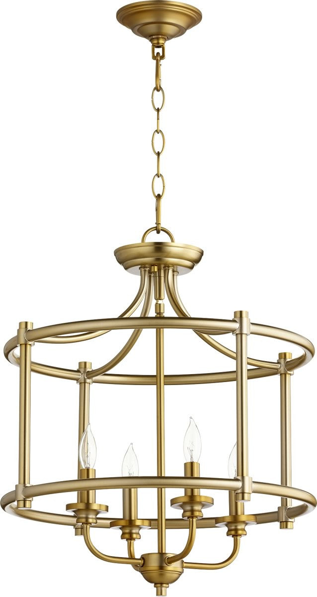 "18""W Rossington 4-light Dual Mount Light Fixture Aged Brass"