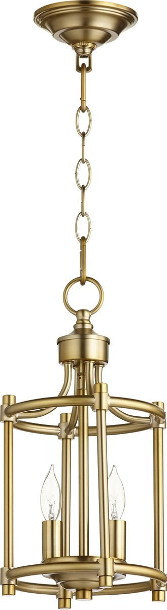 "8""W Rossington 2-light Entry Foyer Hall Chandelier Aged Brass"