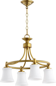 Quorum Rossington 4-light Nook Chandelier Aged Brass