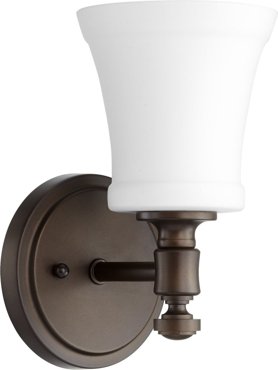 "5""W Rossington 1-light Wall Mount Light Fixture Oiled Bronze w/ Satin Opal"