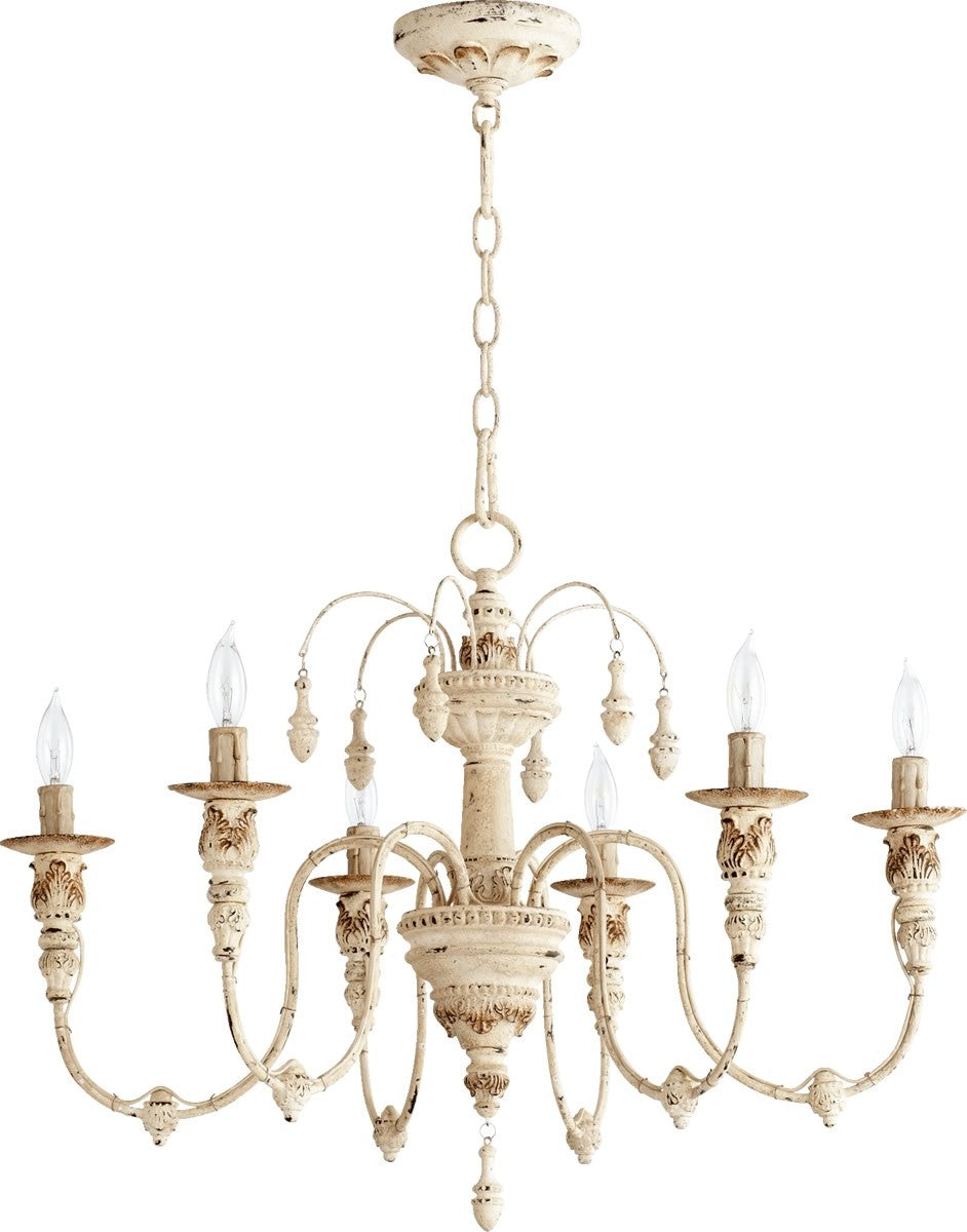 25w salento 6 light chandelier persian white
