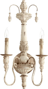 Quorum Salento 2-Light Wall Sconce Persian White 5506270