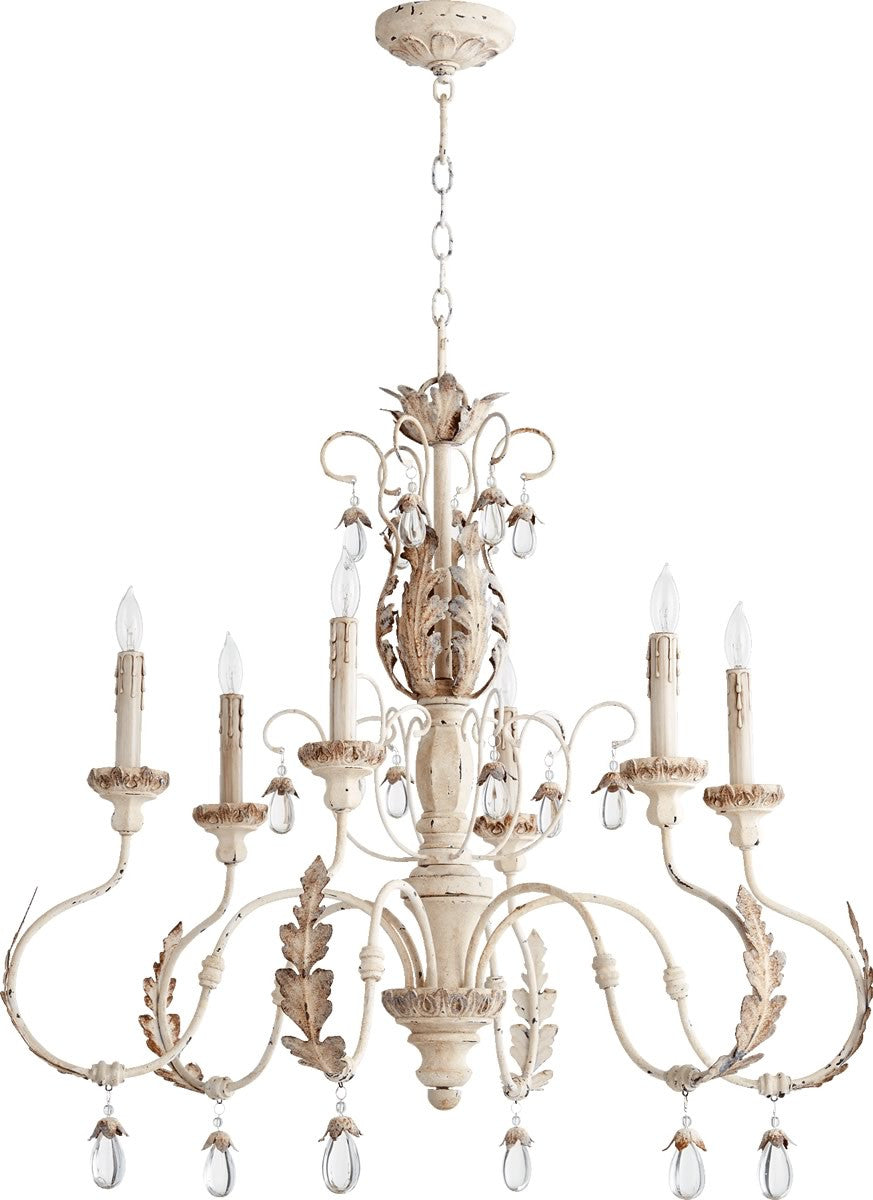 save on quorum venice 6 light chandelier persian white 6444 6 70