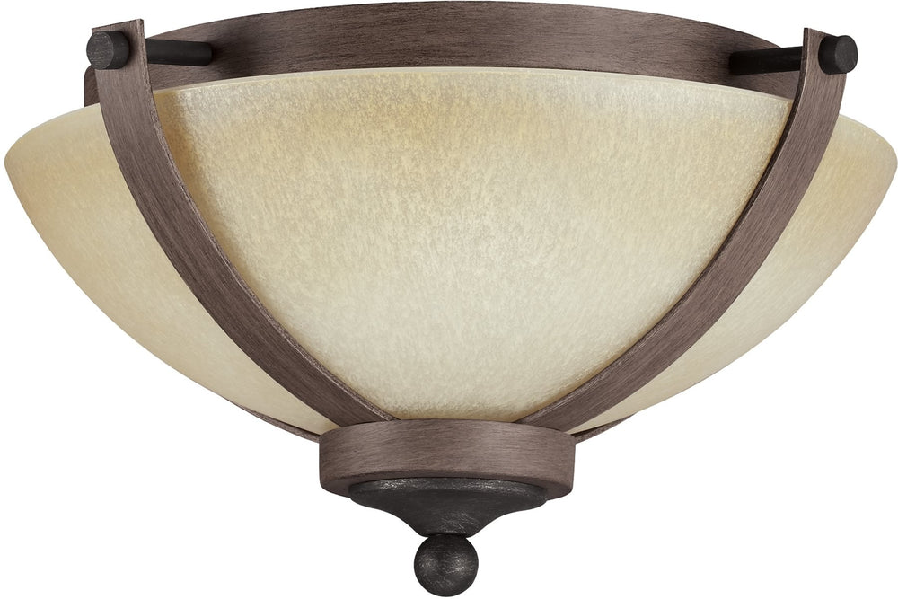 "15""W Corbeille 2-Light Ceiling Flush Mount Stardust/Cerused Oak"