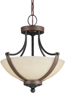 Sea Gull Lighting Corbeille 2-Light Indoor Semi-Flush Convertible Stardust/Cerused Oak