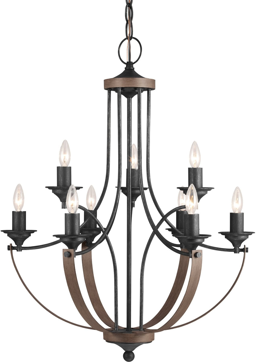 "27""W Corbeille 9-Light Multi-Tier Chandelier Stardust/Cerused Oak"