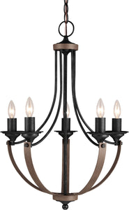 Sea Gull Lighting Corbeille 5-Light Single-Tier Chandelier Stardust/Cerused Oak