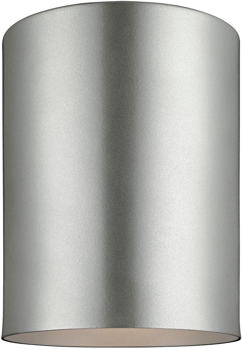 Cylinders 1-Light Outdoor Flush Mount Painted Brushed Nickel