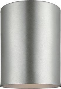 Sea Gull Lighting Cylinders 1-Light Outdoor Flush Mount Painted Brushed Nickel