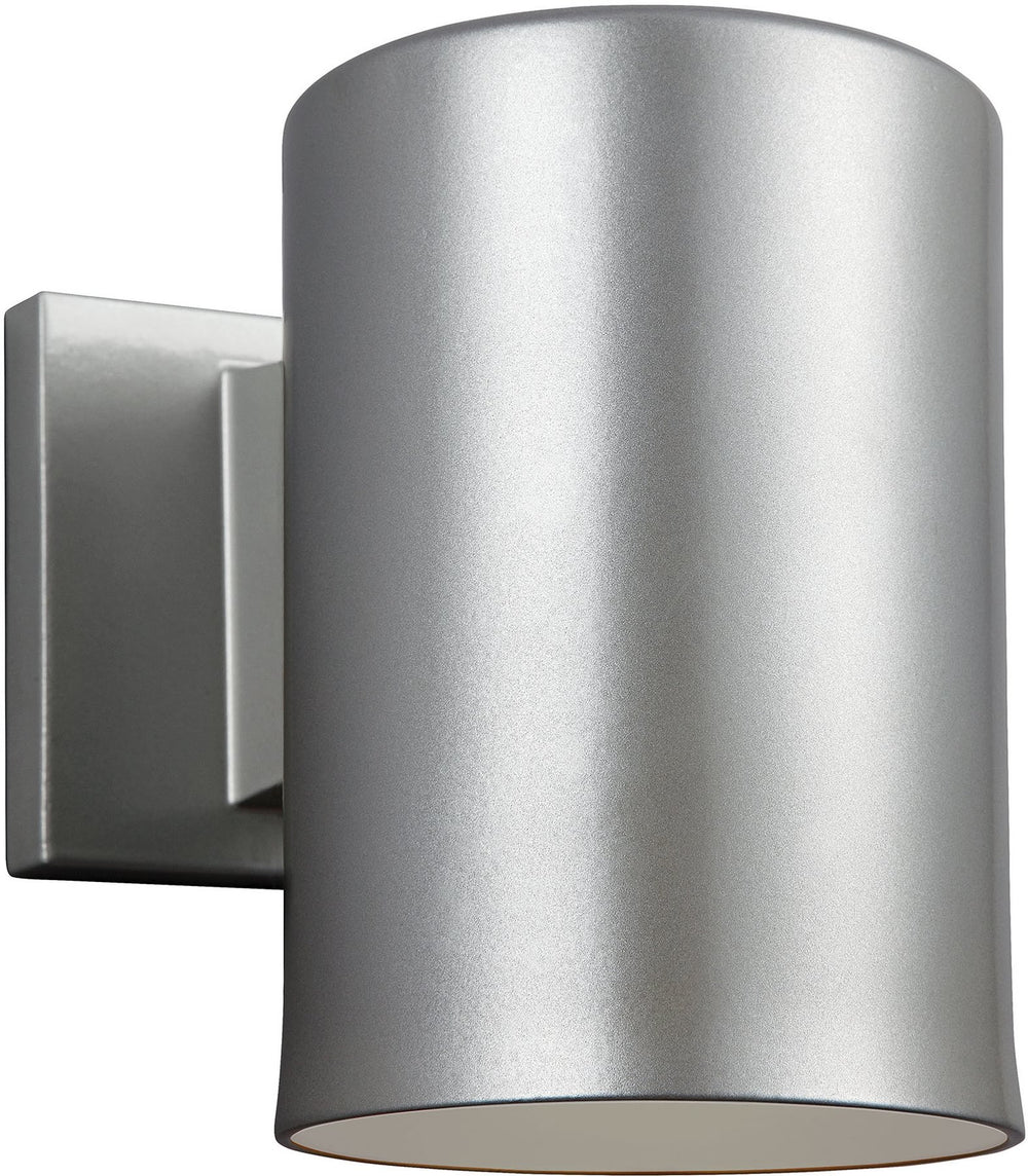 "7""H Cylinders 1-Light Outdoor Wall Lantern Painted Brushed Nickel"