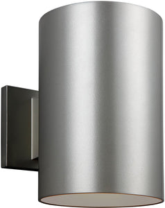 Sea Gull Lighting Cylinders 1-Light Outdoor Wall Lantern Painted Brushed Nickel