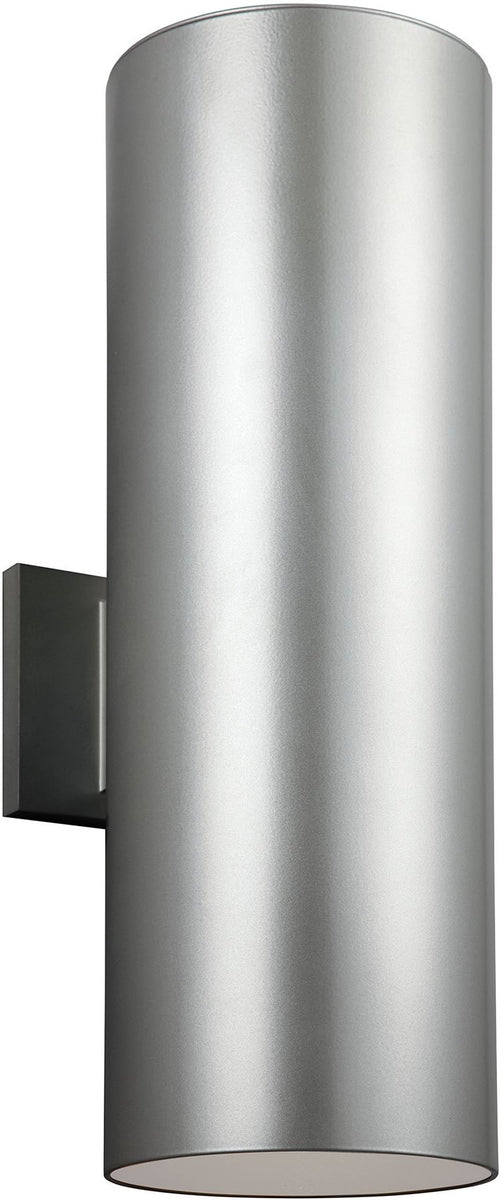 "18""H Cylinders 2-Light Outdoor Wall Lantern Painted Brushed Nickel"