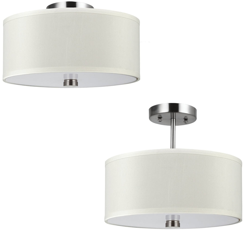 "14""W Dayna Shade 2-Light Ceiling Semi-Flush Mount Brushed Nickel"