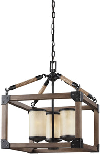 Dunning 3-Light Single-Tier Chandelier Stardust/Cerused Oak