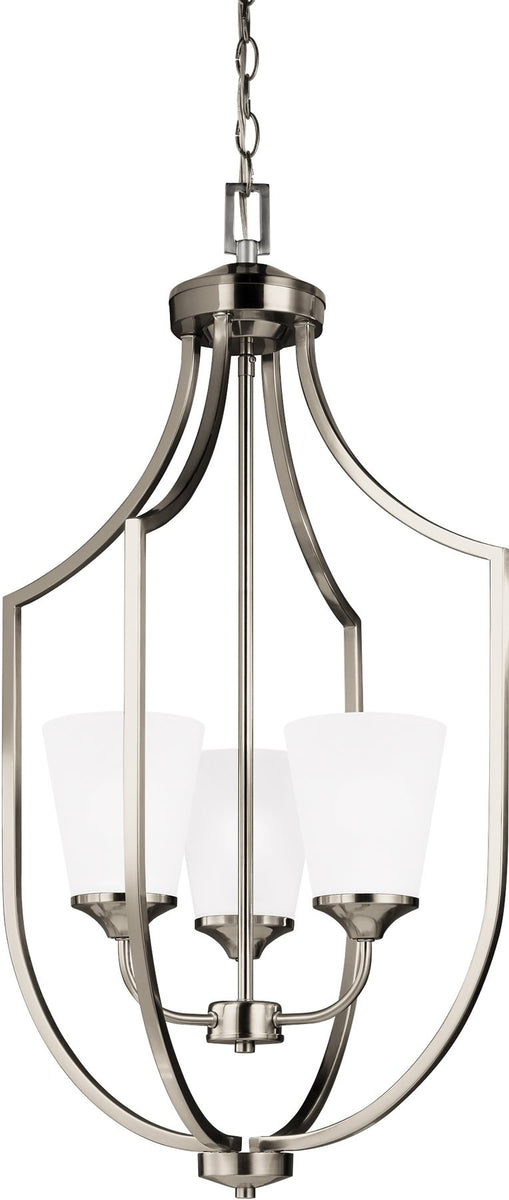 Hanford 3 light hall foyer pendant brushed nickel