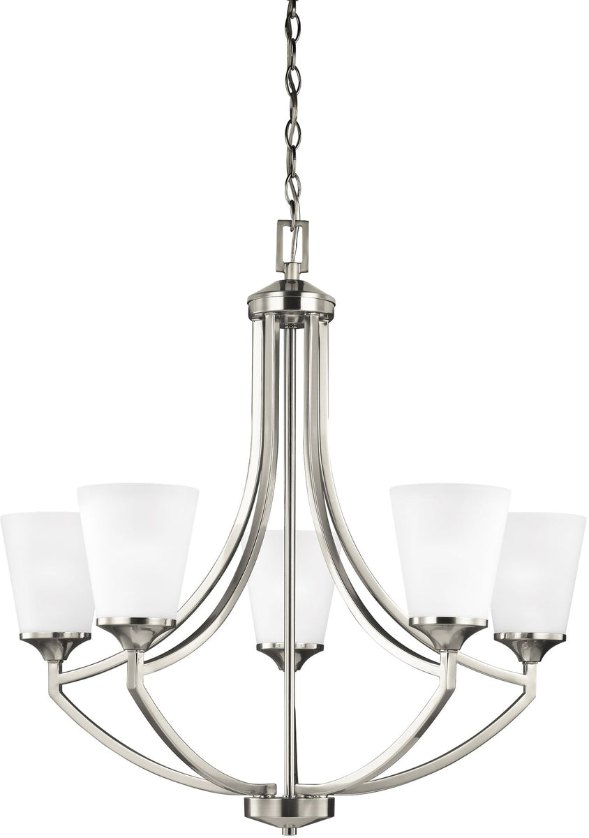 "28""W Hanford 5-Light Single-Tier Chandelier Brushed Nickel"