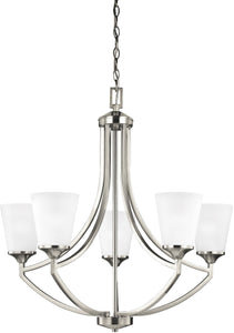 Sea Gull Lighting Hanford 5-Light Single-Tier Chandelier Brushed Nickel