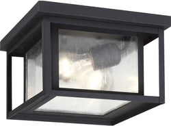 Sea Gull Lighting Hunnington 2-Light Outdoor Flush Mount Black