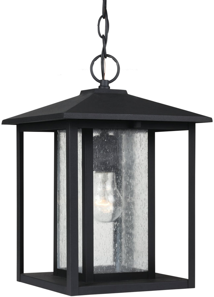 "12""W Hunnington 1-Light Outdoor Pendant Light Black"