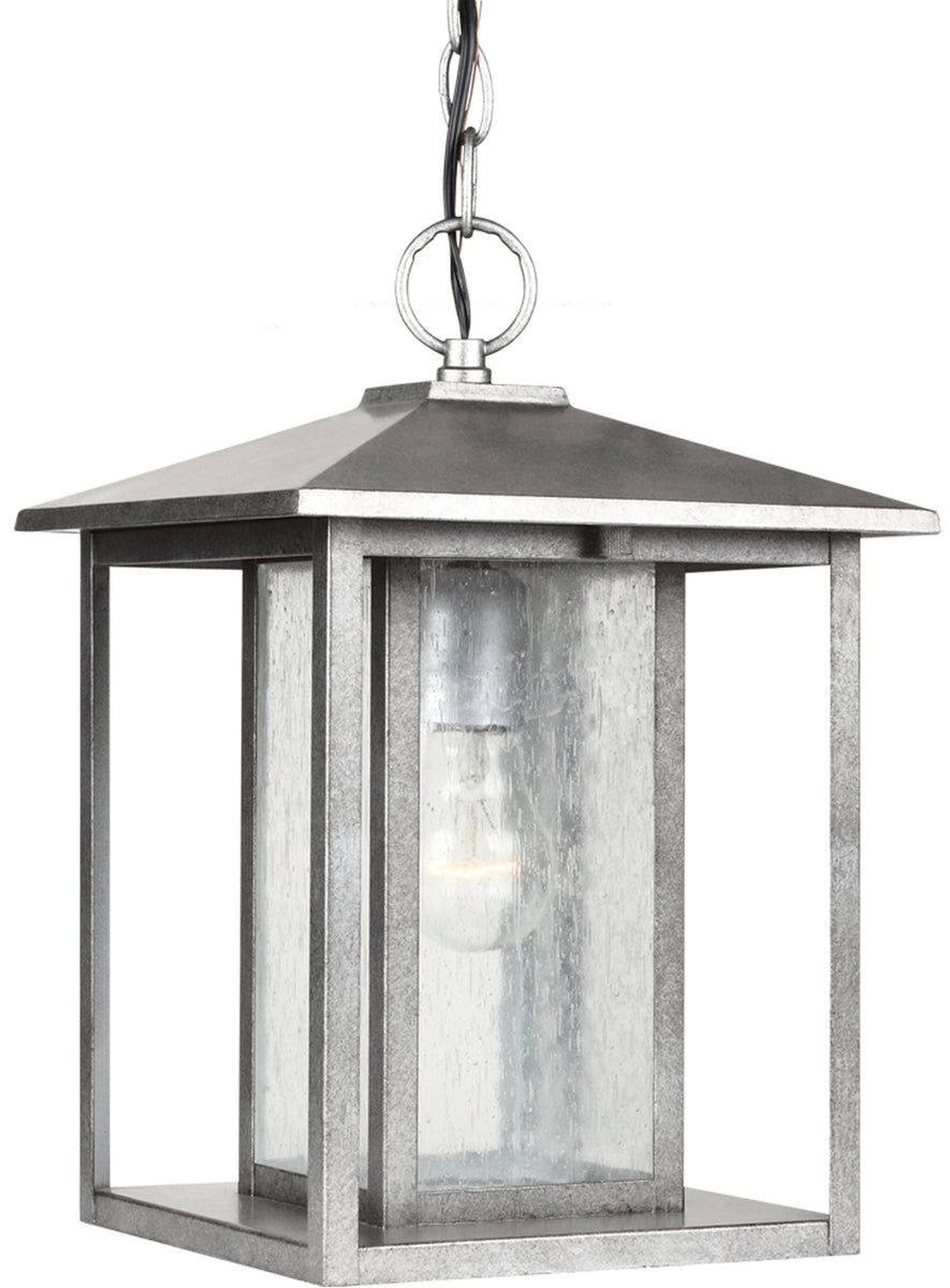 "12""W Hunnington 1-Light Outdoor Pendant Light Weathered Pewter"