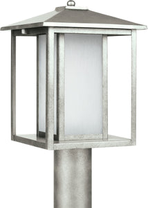 Sea Gull Lighting Hunnington 1-Light Outdoor Post Lantern Weathered Pewter
