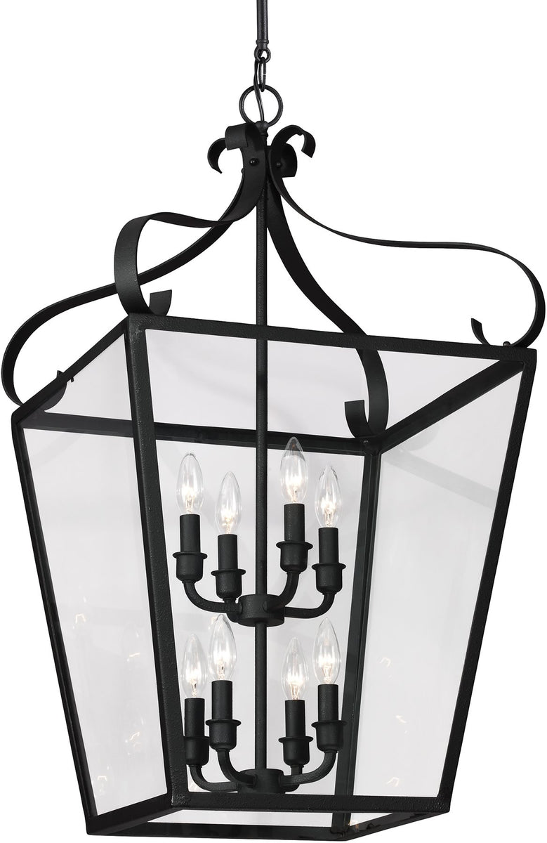 "18""W Lockheart 8-Light Hall Foyer Pendant Blacksmith"