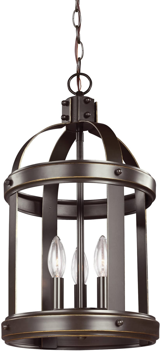 "11""W Lonoke 3-Light Hall Foyer Pendant Heirloom Bronze"
