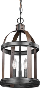 Sea Gull Lighting Lonoke 3-Light Hall Foyer Pendant Stardust/Cerused Oak