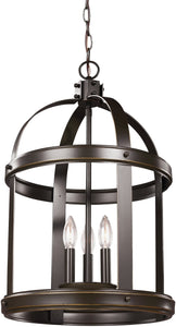Sea Gull Lighting Lonoke 3-Light Hall Foyer Pendant Heirloom Bronze
