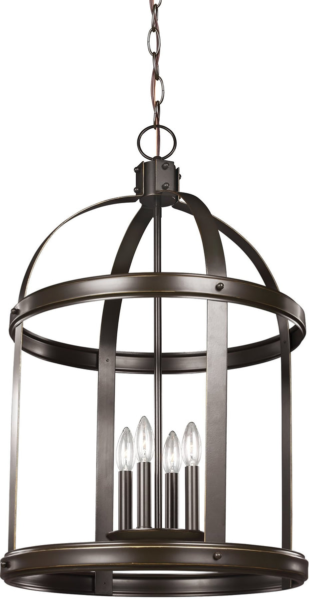"19""W Lonoke 4-Light Hall Foyer Pendant Heirloom Bronze"