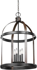 Sea Gull Lighting Lonoke 4-Light Hall Foyer Pendant Stardust/Cerused Oak