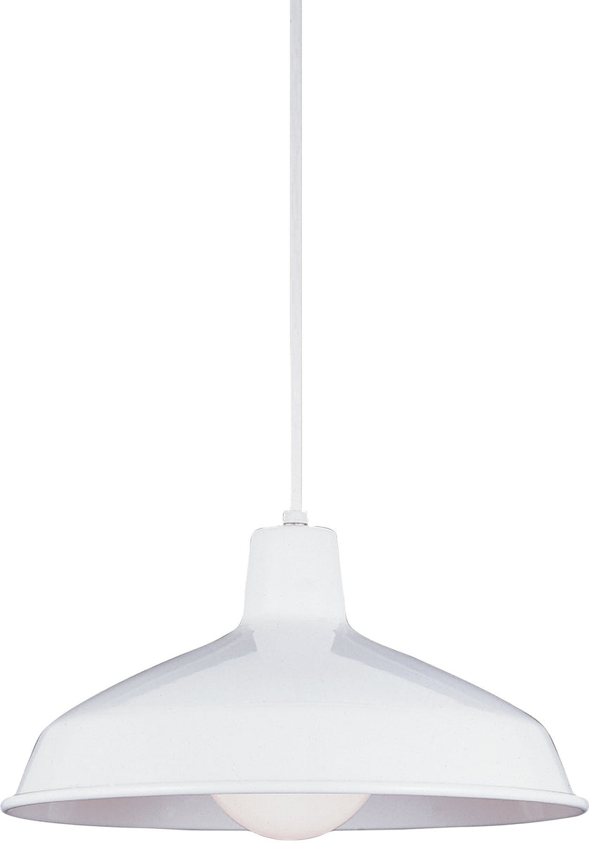 "16""W Painted Shade 1-Light Pendant White"