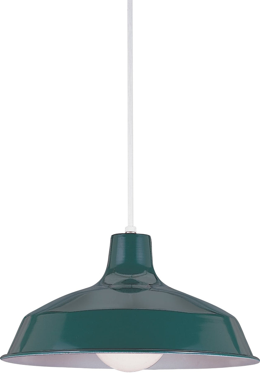 "16""W Painted Shade 1-Light Pendant Emerald Green"