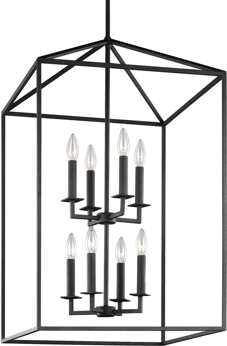 "19""W Perryton 8-Light Hall Foyer Pendant Blacksmith"