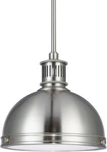 Sea Gull Lighting Pratt Street Metal 1-Light Pendant Brushed Nickel