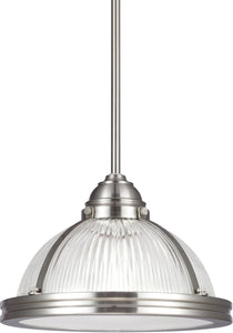 Sea Gull Lighting Pratt Street Prismatic 1-Light Pendant Brushed Nickel