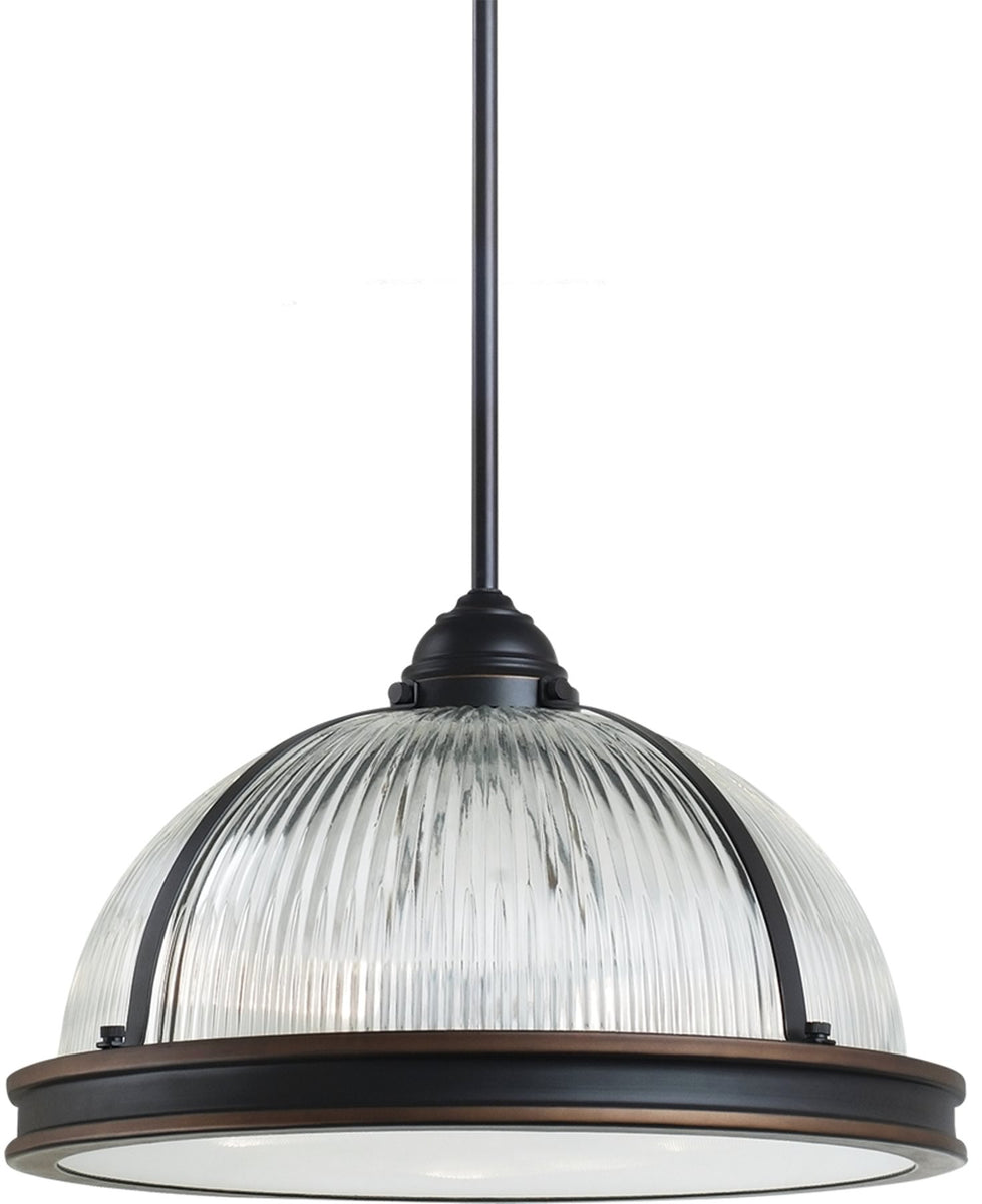 "16""W Pratt Street Prismatic 3-Light Pendant Autumn Bronze"