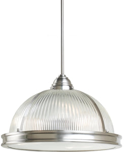 Sea Gull Lighting Pratt Street Prismatic 3-Light Pendant Brushed Nickel