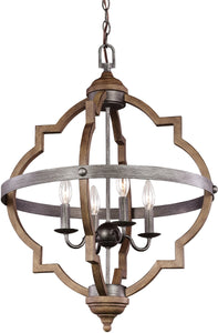 Socorro 4-Light Energy Star Hall Foyer Pendant Stardust/Cerused Oak