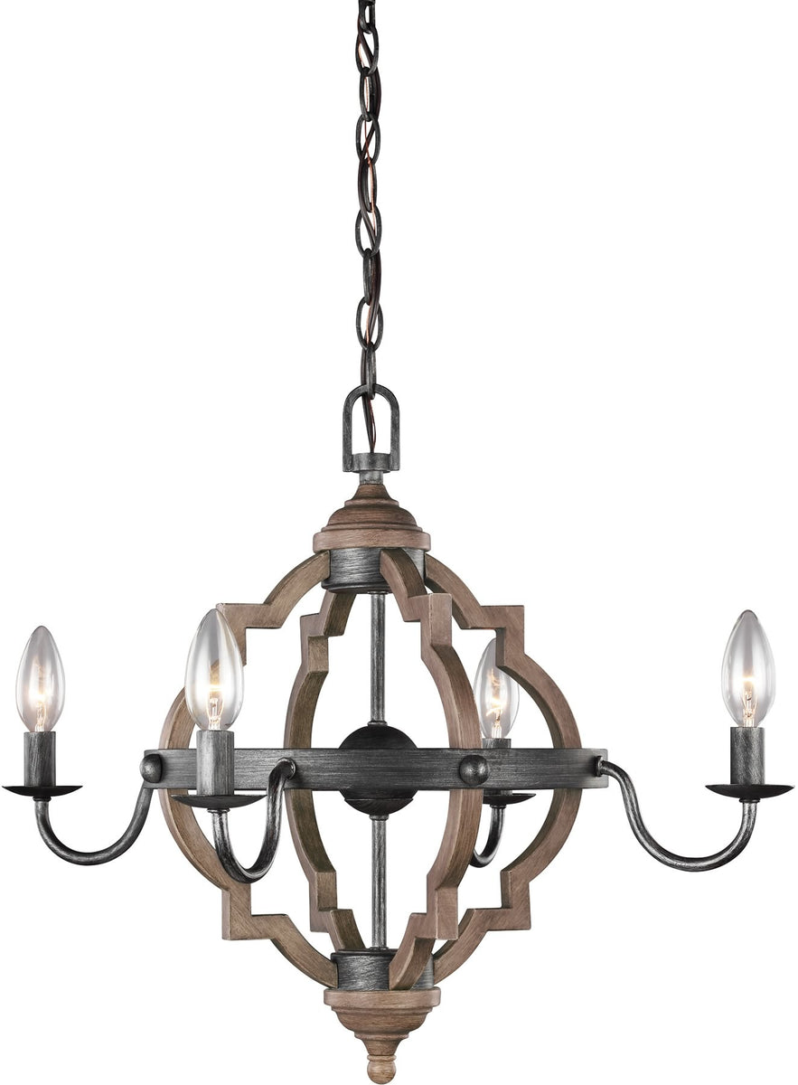 "22""W Socorro 4-Light Energy Star Mini Chandelier Stardust/Cerused Oak"