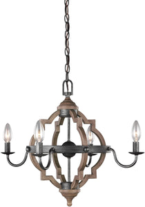 Socorro 4-Light Mini Chandelier Stardust/Cerused Oak