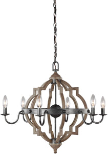 Sea Gull Lighting Socorro 6-Light Single-Tier Chandelier Stardust/Cerused Oak