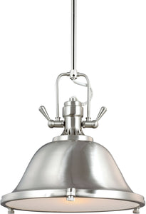 Sea Gull Lighting Stone Street 1-Light Pendant Brushed Nickel