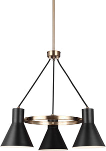 Sea Gull Lighting Towner 3-Light Single-Tier Chandelier Satin Bronze