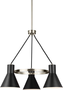 Sea Gull Lighting Towner 3-Light Single-Tier Chandelier Brushed Nickel