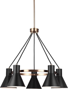 Sea Gull Lighting Towner 5-Light Single-Tier Chandelier Satin Bronze