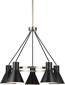 Sea Gull Lighting Towner 5-Light Single-Tier Chandelier Brushed Nickel