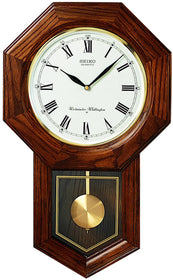 "21""H Schoolhouse Wall Clock Dark Brown Solid Oak"