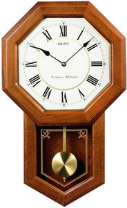 Seiko Clocks Wall Clock Dark Brown Solid Oak QXH110BLH