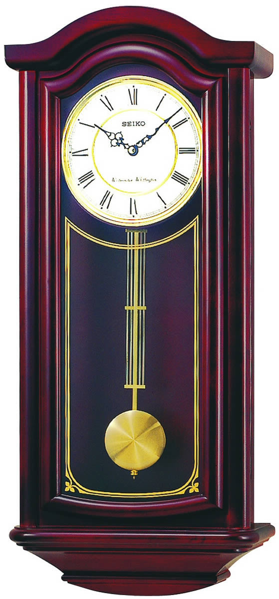 "27""H Wall Clock Mahogany Solid Wood"